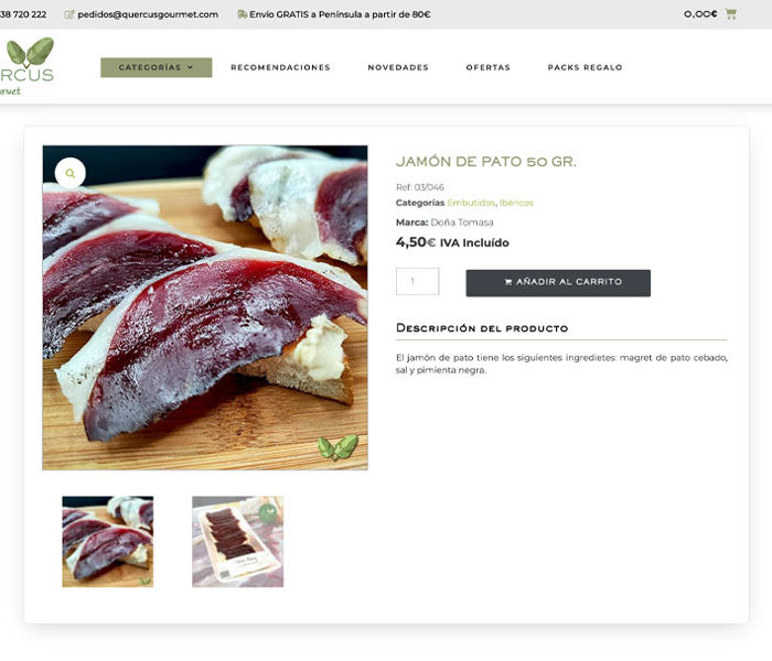 ecommerce productos gourmet