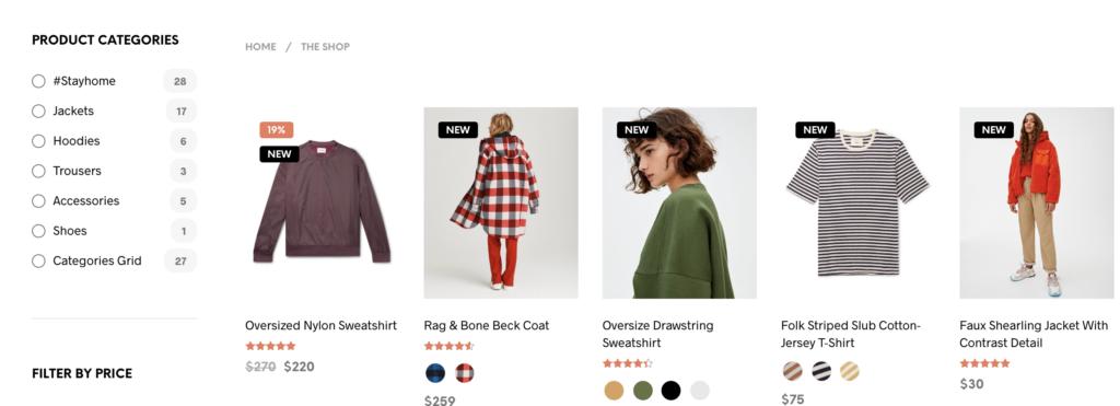 Categorias productos tienda